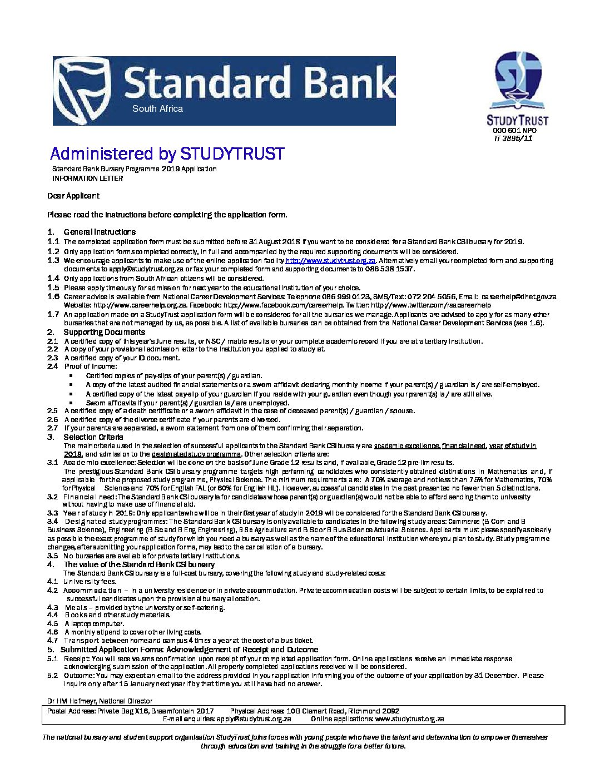 Stanlib bursary programme 2016